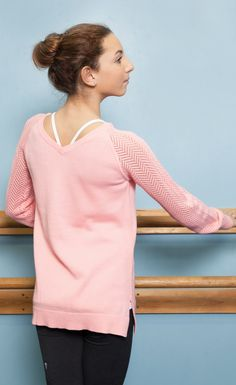 cottony soft knit keeps you warm to-and-from the studio.   Warm And Cool Pullover