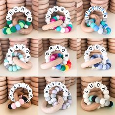 Personalised teething toy safe to chew on, fun to play with and gorgeous to look at. Shop Now Pay Later w Personalised teething toy safe to chew on, fun to play with and gorgeous to look at. Shop Now Pay Later with Afterpay / Zippay / Oxipay! Diy Teething Toys, Teething Beads, Baby Teething, Diy Baby Gifts, Baby Crafts, Best Baby Toys, Crochet Baby Toys, Newborn Toys, Baby Sensory