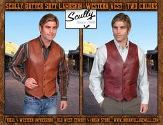 Scully Butter Soft Lambskin Black Cherry Or Antique Brown Western Vest From Tribal And Western Impressions - Old West Cowboy And Indian Store - www.indianvillagemall.com
