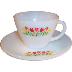 Fire King Tulips Cup & Saucer