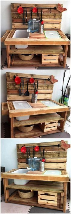 Are you looking for an attractive pallet woodcraft that you and your kids both can use on their time? Then craft out this fabulous wooden pallet kid's mud kitchen plan that is smartly created to meet the mud kitchen of both. This wooden structure is best for your kids and even you can also make the best use of this plan by placing it in your garden area.
