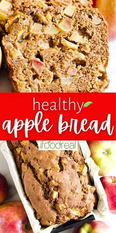 Healthy Apple Bread is loaded with 4 cups of apples, cinnamon and whole foods. Easy, moist, sweet and an absolutely delicious quick bread recipe. Quick Bread Recipes, Whole Food Recipes, Snack Recipes, Healthy Family Meals, Healthy Snacks, Apple Bread, Recipe Please, Sweet Bread