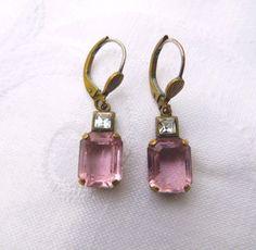 Vintage Emerald Cut Pink Crystal Earrings by VintageVogueTreasure