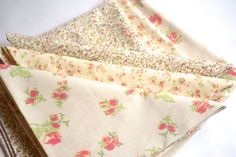 6 Large Cottage Chic Romantic Floral Cloth Napkins by Dot and Army. $36.00, via Etsy.