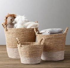 RH baby&child's Banded Seagrass Basket:Weavers created our color-blocked baskets by twisting natural seagrass fibers. The open design makes it easy to organize every essential – wherever kids congregate.