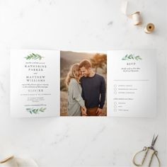 Leafy Watercolor and Faux Rose Gold Wedding Photo Tri-Fold Invitation Tri Fold Wedding Invitations, Photo Invitations, Invitation Card Design, Elegant Wedding Invitations, Letter Folding, Geometric Wedding, Wedding Photos, Gem, Watercolor