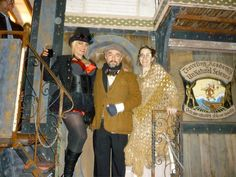 """Uriél Dana with Sam and Katherine Coniglio on the """"Never Was Haul"""". (A mutant steampunk vehicle)."""