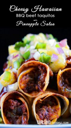 FAMILY FAVORITE!!! Beef smothered in spicy, sweet, smoky barbecue sauce, mixed with cheddar cheese, then rolled in a tortilla and BAKED to crispy perfection then topped with pineapple salsa. AMAZING! | Carlsbad Cravings