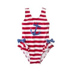 I SO want these for the girls! Brian might kill me though since they each already have about 7 suits for this year! Circo® Infant Toddler Girls 1-Piece Anchor Swim Suit - Red/White/Blue