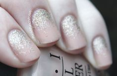 Nude Nails with a Glitter Gradient--I used this as inspiration for the nail polish design for my wedding.