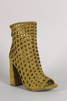 Suede Perforated Peep Toe Chunky Heeled Booties