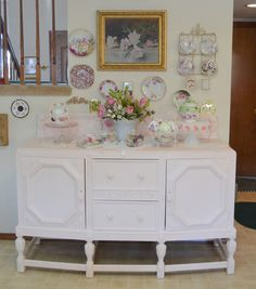 Bernideens Tea Time Blog.  LOVE the pink and white hutch.
