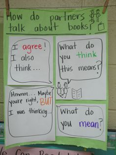 This is a great way to encourage students to use appropriate language when working with a partner and discussing books. The child-friendly heading is clear enough that even younger readers will understand it. The word bubbles give them constructive ways to begin and continue discussions between partners.
