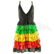 Rasta and Reggae Ruffle Short Dress