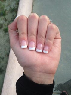 Acrylic pink and white nails