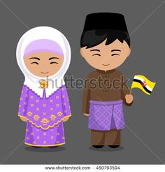 Illustration of Bruneians in national dress with a flag. Man and woman in traditional costume. Travel to Brunei. vector art, clipart and stock vectors. Fashion Vector, Costumes Around The World, World Thinking Day, Indian Bridal Fashion, Banner Printing, Flat Illustration, Brunei, World Cultures, Vintage Children