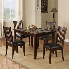 Easily set the mood for upscale, casual dining with the Home Source Industries Charmant 5 Piece Dining Set . Crafted out of wood, this set is. Kitchen Dining Sets, Counter Height Dining Sets, Dining Room Sets, Dining Room Furniture, Outdoor Furniture Sets, Dining Chairs, Dining Table, Kitchen Tables, Side Chairs