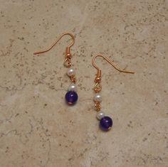 Pearl & Amethyst Copper Earrings TheGemGirlJewelry - $12.25