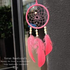 Love Pink Indiana Dream Catcher Net With Feather Yellow Beads Dreamcatcher Circular Wall Hanging Car Home Decor Gift