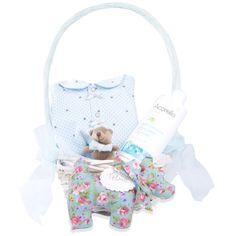 Cestita de mimbre, sujetachupetes-osito, crema de pañal Acorelle, pijama, perrito con el nombre del bebé, felicitación personalizada