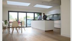 Kitchen Extension With Bifold Doors IdeasKitchen Extension With Bifold Doors Ideas Kitchen Extension Layout, Kitchen Extension Velux, Kitchen Layout, Kitchen Living, New Kitchen, Glass Extension, Extension Ideas, Side Extension, Extension Designs
