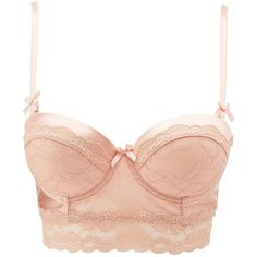 Charlotte Russe Sparkle Lace Long Line Bra ($13) ❤ liked on Polyvore featuring intimates, bras, rose, see-through bras, transparent bra, sheer push up bra, bow bra and lace push up bra