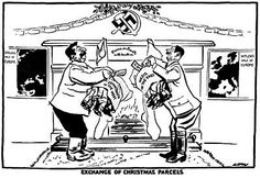Germany and Russia agreed to bury the hatchet; they agreed to bury it in Poland.   BBC TV, Why Appeasement?-Cartoon by David Low, 1939. Criticism on the non-agression pact of Hitler