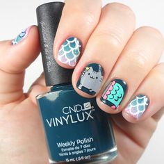 Pusheen Cat Mermaid Nail Art | Cat Nails | CND Vinylux