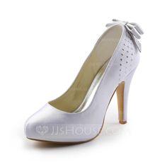 Wedding Shoes - $68.99 - Women's Satin Cone Heel Closed Toe Platform Pumps With Bowknot Rhinestone (047005394) http://jjshouse.com/Women-S-Satin-Cone-Heel-Closed-Toe-Platform-Pumps-With-Bowknot-Rhinestone-047005394-g5394?ver=1