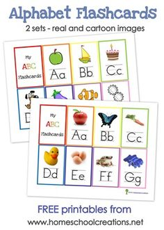After making my ABC Bible Verse Flashcards I started working on a few other printables to share with you all ~ beginning sounds alphabet flash cards and full sized alphabet wall posters to use with your children. Preschool Printables, Kindergarten Literacy, Preschool Learning, Early Learning, Fun Learning, Preschool Activities, Free Printables, Cursive Alphabet, Alphabet Wall