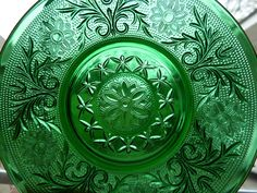 Thanks to all of you for the input about the green glassware but most especially Phyllis with Tea Party Every Day who called it sandwich gl. Antique Plates, Antique Glassware, Vintage Dishes, Vintage Items, Vintage Stuff, Vintage Kitchen, Vintage Green Glass, Carnival Glass, Glass Collection