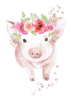 Watercolour Piglet with Flower Crown Print Aquarell Ferkel mit Flower Crown Print Watercolor Animals, Watercolor Flowers, Watercolor Paintings, Watercolor Paper, Animal Paintings, Animal Drawings, Art Drawings, Crown Painting, Painting & Drawing