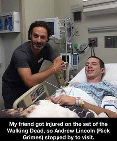 """Andrew Lincoln visits a man injured on the set of The Walking Dead"" Love that!!! Yeah, Rick!"