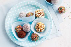 Lovely soft balls covered in hundred and thousands. These are great for children's parties.