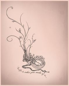 Pocket watch tattoo design-I would get rid of the quote though