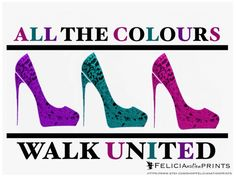 Fashion art print all the colours walk by FelicianationPrints