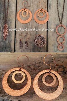 Hoop earrings Boho earrings Statement earrings Geometric earrings Dangle earrings Drop earrings Gift for women Copper earrings Gift for her Boho Necklace, Boho Earrings, Statement Earrings, Handmade Market, Etsy Handmade, Copper Earrings, Copper Jewelry, Bohemian Gypsy, Bohemian Jewelry