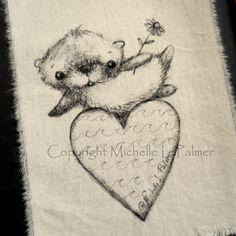 Original Pen Ink Art Illustration Otter Heart Daisy Valentine Natural Muslin Fabric Michelle Palmer. $7.50, via Etsy.
