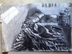 WCSU Drawing I or II. My bedroom circa 1997. 24 x 36 newsprint (this drawing is huge)