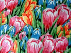 """One Fat Quarter Cut Quilt Fabric, """"Easter Crocus"""" in Yellow, Pink, Blue, Corcus Leaves, Springs Creative, Quilting, Sewing & Craft Supplies"""