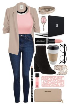 """Taupe + Pink + Black"" by aine-says-hi ❤ liked on Polyvore featuring River Island, LE3NO, Topshop, MICHAEL Michael Kors, MAC Cosmetics, Smashbox, Yves Saint Laurent, OUTRAGE, Miss Selfridge and Stella & Dot"