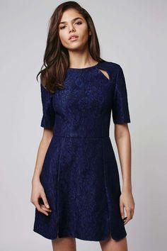 Bonded Lace A-Line Dress, Navy Blue | Topshop