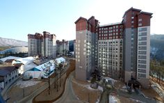 A view of the Athletes Village in Pyeongchang on February 6, 2018.