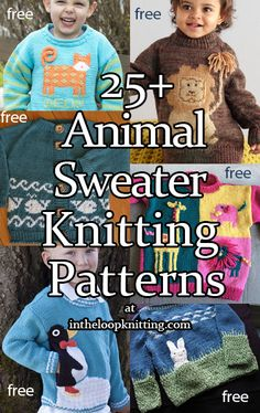 Knitting patterns for sweaters for babies and children with animal themes. Knitting patterns for sweaters for babies and children with animal themes. Boys Knitting Patterns Free, Animal Knitting Patterns, Baby Sweater Patterns, Baby Cardigan Knitting Pattern, Knit Baby Sweaters, Baby Hats Knitting, Knitting For Kids, Toddler Sweater, Knitted Hat