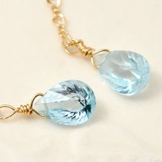 14kgf sky blue topaz earring,birthstone,lucky charm,gemstone,jewerly,gift,Amulet,wedding,chain earring,modern on Etsy, $42.00