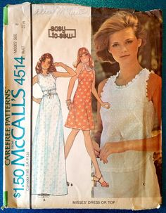 Vintage 1975 easy to sew sleeveless dress and top by kwirkykiwi