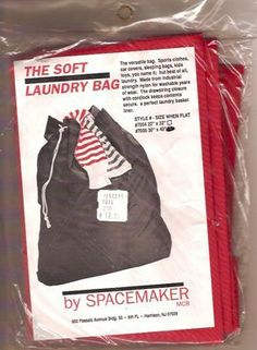 The Soft Laundry Bag (Black) by Spacemaker. $7.00. Durable for washable years of wear.. Made form industrial strength nylon.. A perfect laundry bag liner.. Drawstring closure keeps contents inside and secure.. 30x 40 inch Soft Nylon Laundry Bag with drawstring closure