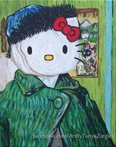 Goodbye, Ear - Hello Kitty/Van Gogh Art Print I had to pin it because it was something different.. lol