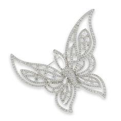 Mariposa de plata con circonitas