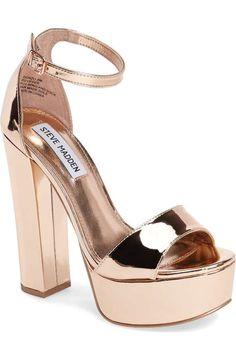 Steve Madden Gonzo Platform Sandal In Rose Gold Platform High Heels, High Heel Boots, Shoe Boots, Shoes Heels, Heeled Sandals, Sandals Platform, Rose Gold Platform Heels, Nude Sandals, Sandals Outfit